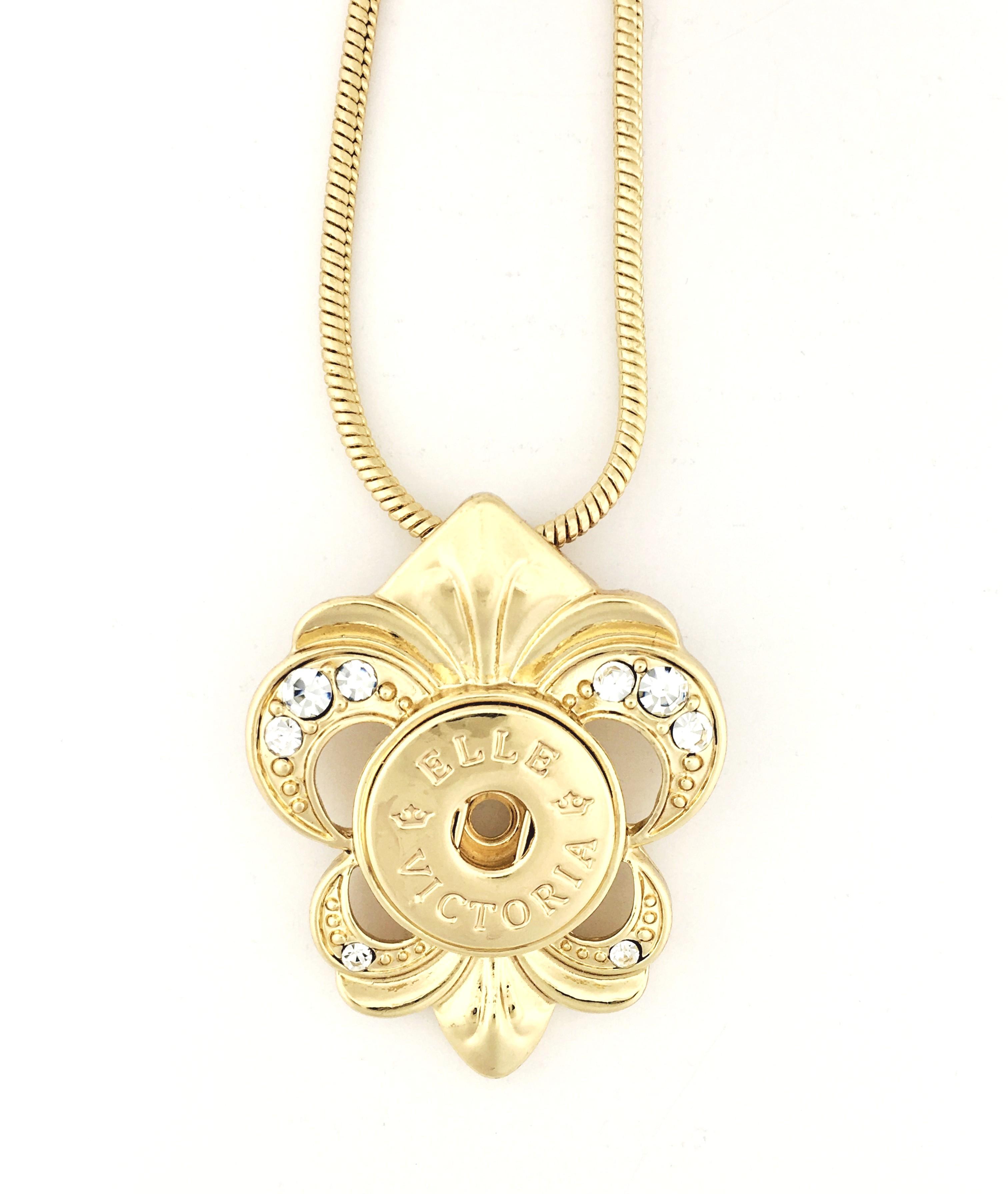 Fashion snaps necklace gold fleur de lis pendant with 17 snake fashion snaps necklace gold fleur de lis pendant with 17 snake chain aloadofball Images